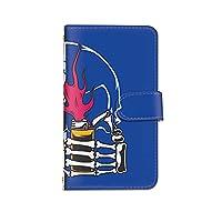 [bodenbaum] Galaxy A8 SCV32 手帳型 スマホケース カード スマホ ケース カバー ケータイ 携帯 SAMSUNG サムスン ギャラクシー エーエイト au 骸骨 ライター バイカラー d-383 (B.ブルー)
