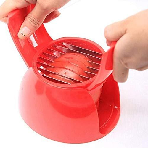 Perfect Tomato & Vegetable Slicer Eierschneider Salatmacher mit Sicherheitshalter, Multiuse Tomato Slicer Holder, Kartoffeln Zwiebel Runde Obst Gemüse Werkzeuge Küchenschneidhilfe