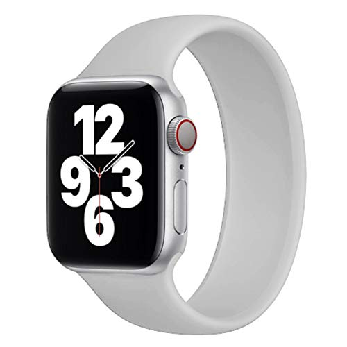 Correa de silicona deportiva para Apple Watch Series 6/5 / SE / 4/3/2/1 Solo Loop para Iwatch Band 44mm 42mm 40mm 38mm Accesorios de correa de reloj-gris, 42mm