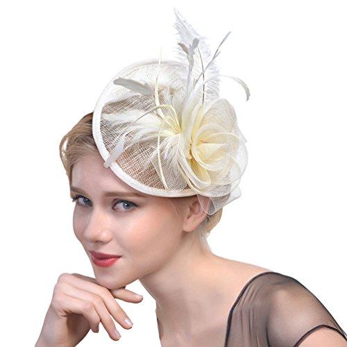 Yujeet Moda Femenina Elegante Sombreros Y Tocados Pluma Proceso De Sarga Completa Hecho A Mano Novia Headwear Para La Boda Cocktail Party