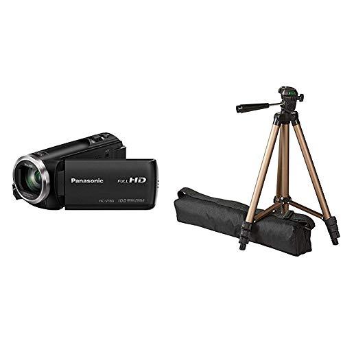 Panasonic HC-V180 Videocamera 2.51 megapixel & Amazon Basics - Treppiedi leggero, 127 cm