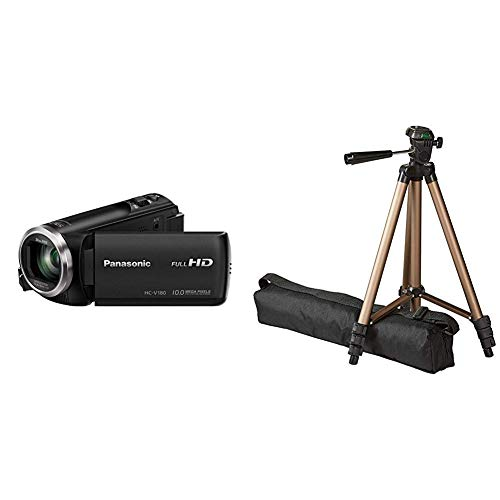 Panasonic HC-V180EG-K Full HD Camcorder (1/5, 8 Zoll Sensor, Full HD, 50x optischer Zoom, 28 mm Weitwinkel) schwarz & AmazonBasics 127cm (50