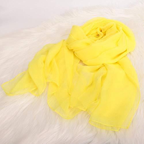MMSWDT Mujer 2 Bufandas De Gasa Color Liso Ligereza Transpirable Suave Yoga Body Show Bufandas Ceremoniales Protección Solar-Ganso Amarillo_180 * 70Cm