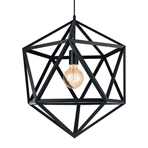 Eglo Suspension Emblème 1 Ampoule Lampe Suspendue Industrielle Vintage Rétro Suspension en Acier Noir Lampe de Table de Salon Suspension avec Douille E27 Ø 46 cm