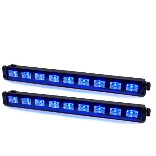 2 Barres à LED UV 9x1W se reflète sur tissus blanc