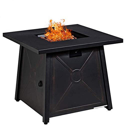 Giantex Gas Fire Table, 30 Inch Square Table 50,000BTU Fire Table w/Waterproof Cover, ETL and CSA Certification Patio Auto-Ignition Propane Heater Fire Table w/Lava Rock (Black)