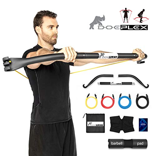 Doeplex Rhino Bow Portable Home Gym Resistance Band System Heavy Set, Weightlifting and HIIT...