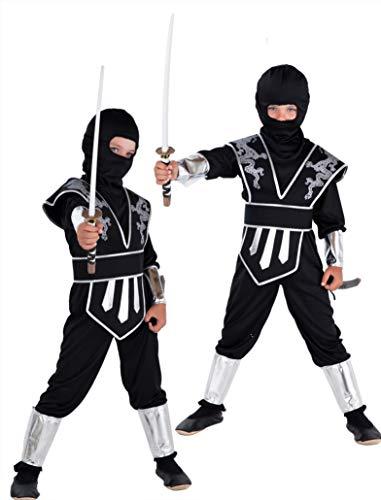 Magicoo Drago Ninja Costume per Bambini Ragazzi Nero Argento Taglie: 4-12 Anni – Costume di Carnevale Travestimenti Ninja Ragazzo (7-9 Anni)