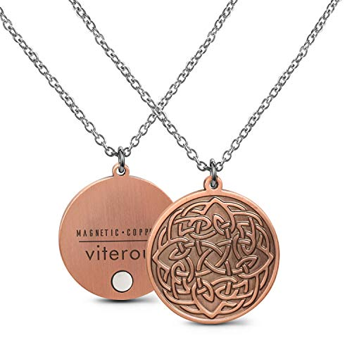 VITEROU Magnetic Pure Copper Therapy Celtic knot Pendant Necklace with Healing Magnets Pain Relief for Neck Arthritis Migraine Headaches Shoulders and Back,3500 Gauss