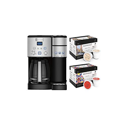 Cuisinart SS-15P1 Coffee Center 12-Cup Coffeemaker and Brewer (Black Stainless) with Italian and Columbian Roast K-Cups Bundle (3 Items)
