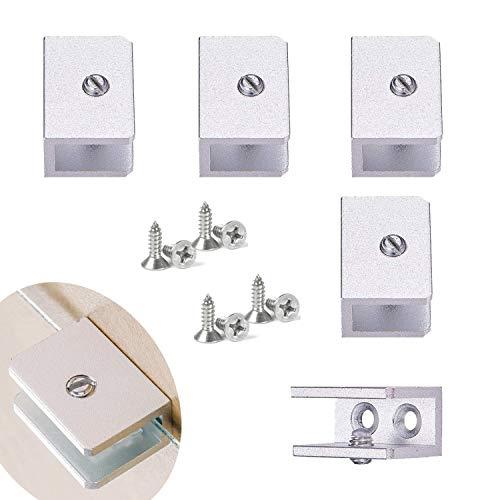 Zaky 4 Stück Aluminiumlegierung Glas Clip Glashalter eckig für Ihr Bad und Ihre Küche zur Aufnahme des Glasregals,Silber Enthält 8 Schrauben (8-10mm)