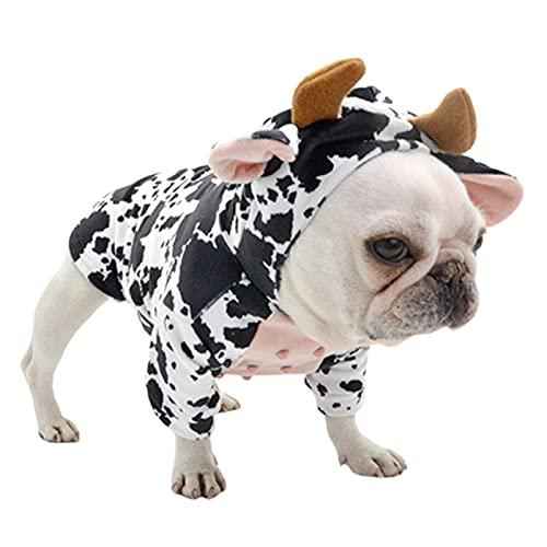 ewrTM00sdQ Summer Dog Shirt, French Bulldog Cute Two-Legged Hoodies Vest, Cow Cosplay Cute Non-Shrink Puppy Tshirt Black & White M