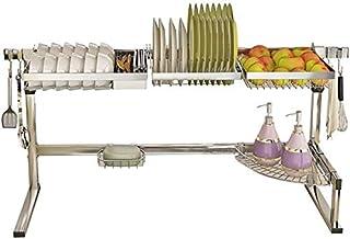 DJSMsnj Rangement de cuisine, égouttoir à vaisselle, égouttoir en acier inoxydable, égouttoir à vaisselle réglable, organi...