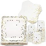 Coriandoli d'oro piatti di carta, tovaglioli e tazze, set da tavola per feste (24 e 72 pez...