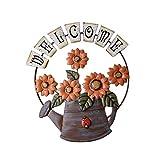 SNIIA Cartel De Bienvenida De Girasol Y Regadera Colgante De Hierro Vintage, Decoración De Arte De Pared De Jardín De Porche, Flor De Bienvenida Dulce Decoración para El Hogar 36x36cm