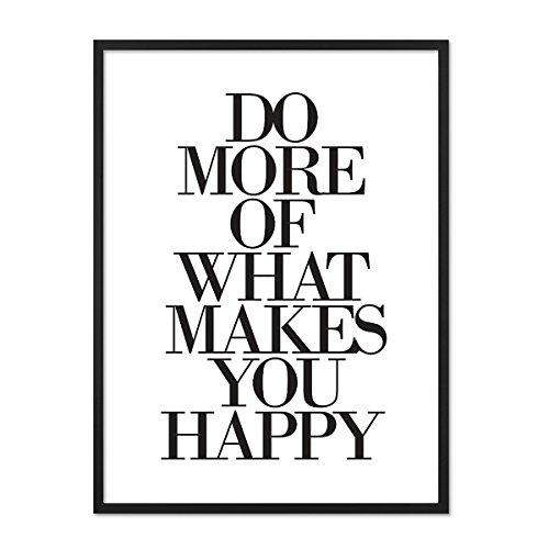 PHOTOLINI Design-Poster mit Bilderrahmen Schwarz 'What Makes You Happy' 30x40 cm schwarz-Weiss Typographie Spruch