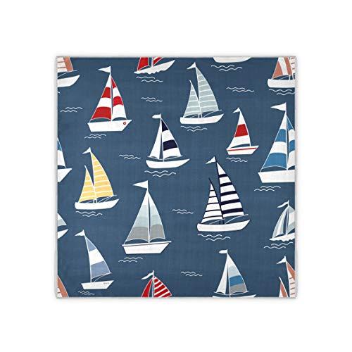 Barco barco río océano transporte pañuelo mujer moda patrón bufanda para el pelo sensación bufandas cuadradas 35x35 pulgadas