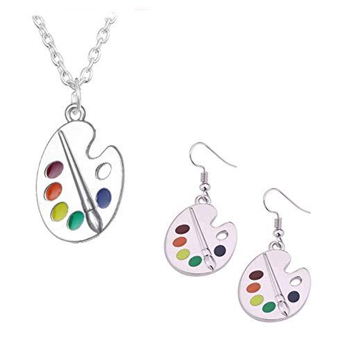 Unique Charm Enamel Paint Palette Dangle Earrings Necklace Set Paint Brush Colorful Paint Palette Drop Earrings for Women Artist Painter Jewelry Art Teacher Gifts-C Set