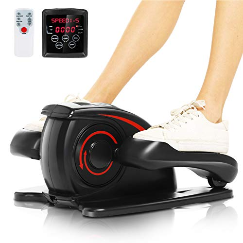 ANCHEER Under Desk Electric Mini Elliptical Machine, Remote Control Portable Exercise Elliptical Trainer with Large Pedal, LCD Monitor Compact Trainer for Home & Office Gym (Black)