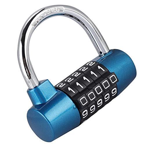 5-cijferige hangslot, Zink-legering Locker Lock, Code Lock U-vormige koffer deur Combinatie Lock voor Gym, School, Thuis, Kantoor, Reizen, Buiten, Kabinet, Fiets, Kantoor Blauw
