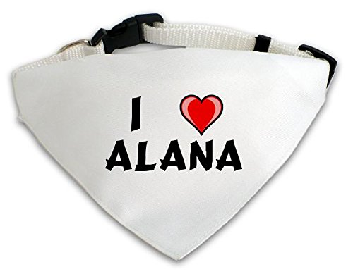 Personalisierter Weißer Hundschal mit Aufschrift Ich liebe Alana