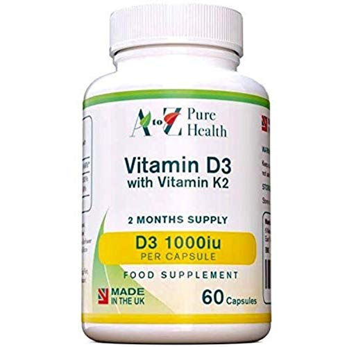 A to Z Pure Health Vitamin D 1000iu with Vitamin K2 45μg Softgels (2 Months' Supply) | 60 Vitamin D3 with K2 Capsules | Vitamin D Supplements | Suitable for Vegans | 100% Dairy Free | Made in The UK
