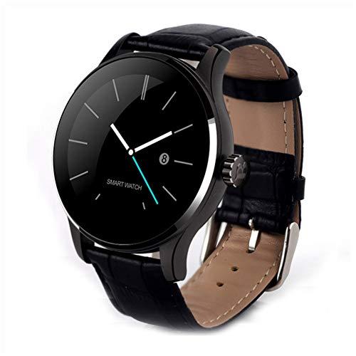 Runder Farbbildschirm Smart Watch K88H Lederband Herzfrequenz Bluetooth Remote Smartwatch Wasserdichter Fitness-Sport-Aktivitäts-Tracker,Schwarz