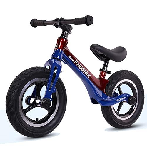 DFBGL Bicicleta de Equilibrio para niños 12 & # 34, Bicicleta para niños sin Pedales para niños y niñas de 2 a 6 años, Asiento Ajustable, Neumáticos engrosados Amortiguador, Altura re