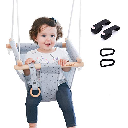 happypie Secure Canvas Hanging Swing seat Indoor Outdoor Hammock Toy,Comfortable Design Durable Structure Whole Childhood,Secure Canvas Hanging Swing seat Indoor Outdoor Hammock Toy(Grey)