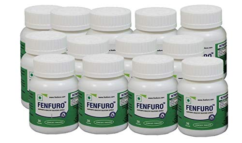 Fenfuro diabetes supplement for healthy blood glucose/blood sugar, patented, clinically evaluated, natural -30 capsules (Pack of 12)