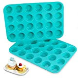 PREMIUM PURE SILICONE MATERIAL: 100% Food-grade silicone molds, you just make a pinch, if it turns white, it is not (LFGB) European Standard, these silicone muffin pans never turns white. Just feel free to enjoy much healthier treats with your family...