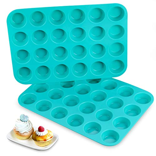 Silicone Muffin Pan - 24 Mini Cupcake Pan Silicone Molds BPA Free 100% Food Grade Mini Muffin Pan, Pinch Test Approved, Pack of 2