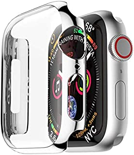 PC Frame Case cover For Apple Watch band 44mm iwatch 4 protective screen protective protector plating shell silver