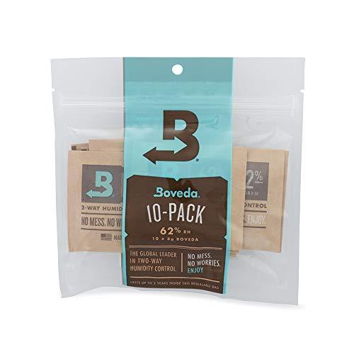 Boveda - Bolsitas para almacenar remedios naturales | Control doble de la humedad - 62% HR | Tamaño 8 para un máximo de 30g | Previene la pérdida de terpenos por sequedad y moho | Pack de 10 en bolsa hermética