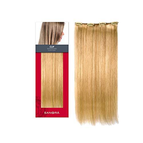 SANGRA HAIR Extensiones de clip de cabello natural–1 pieza 24 cm de ancho y 40 cm d largo. 4 clips. 30 gr - Pelo 100% natural remy–Cambia de look en 5 minutos–Fácil de poner(Rubio dorado cobrizo (27))