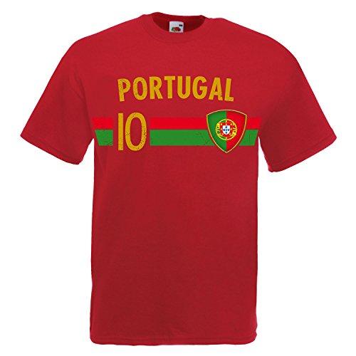 Fußball WM T-Shirt Fan Artikel Nummer 10 - Weltmeisterschaft 2018 - Länder Trikot Jersey Herren Damen Kinder Portugal Portuguesa 3XL