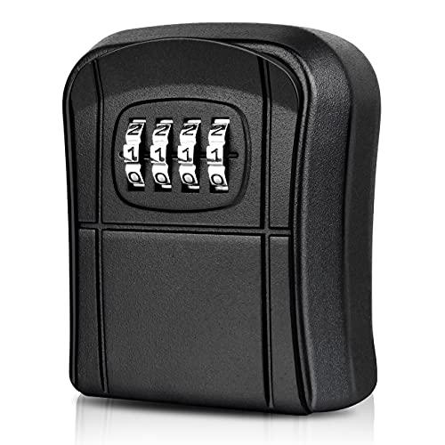 WACCET Caja Seguridad Llaves Exterior Mini Caja Fuerte para Llaves Montado en la Pared Impermeable Caja Llaves Código con Combinación 4 Dígitos Reiniciables para Hogar Garaje Oficina Escuela (Negro)