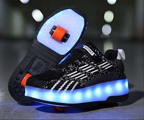 qmj 7 Farben Blinkend LED Schuhe Mit Roller Inline Wheel Skates Cross Trainer Outdoor Laufgymnastik Turnschuhe,Black-40