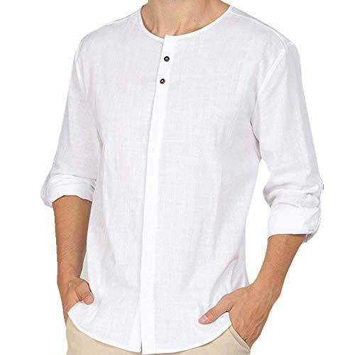 NOBRAND Camisa de lino para hombre de manga larga para playa