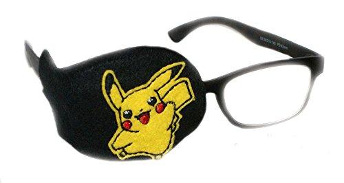 SuperPatchDesigns Orthoptische Augenklappe bei Amblyopie, Sehschwäche, zur Therapie, Behandlung für Kinder und Erwachsene, Pokemon-Motiv auf schwarzem Hintergrund, Schwarz