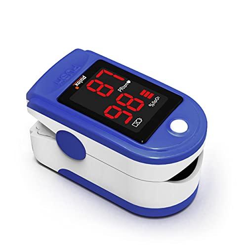 Pulox PO-100 Pulsoximeter mit LED-Anzeige, inkl. Hardcase, Batterien, Schutzhülle, Nylontasche und Trageband Blau