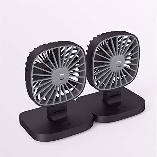 Breeze DMM Mini-ventilator, dubbele kop, zwart, USB-ventilator, voor auto's, kleine koelbox, 12 V, 24 V, auto, grote vrachtwagen van Location