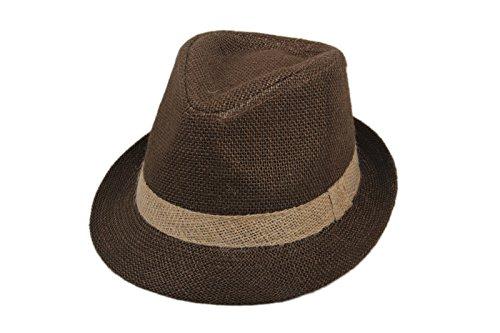 DANTIYA Little Boys' Kids Linen Straw Band Fedoras Hat Caps (Coffee)