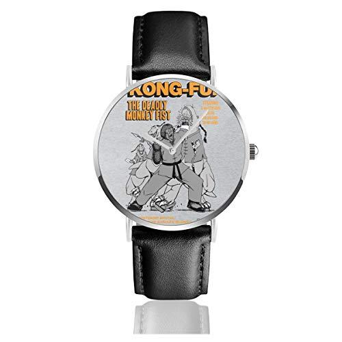 Unisex Business Casual Kong Fu The Deadly Monkey Fist Comic Buch Uhren Quarz Leder Uhr mit schwarzem Lederband für Männer Frauen Young Collection Geschenk