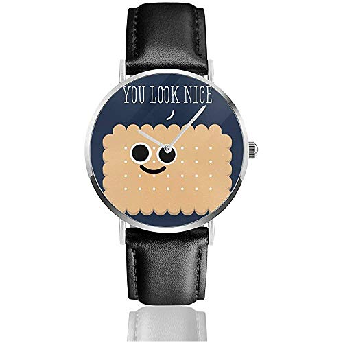 Schöner Keks Sie sehen aus Schöne Uhren Quarzlederuhr mit schwarzem Lederband für Sammlungsgeschenk
