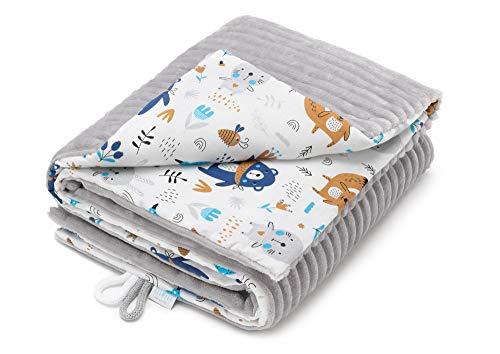 EliMeli Babydecke Kuscheldecke Junge Krabbeldecke 75x100 | Ultraweicher Gestreifter Microfaser-Plüsch Stoff aus Baumwolle | Füllung | hoch Qualität | ideal als Kinderwagendecke (Grau - Waldtiere)