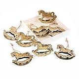Logbuch-Verlag - 8 colgantes de Navidad dorados de chapa balancín de 6 cm con cuerda para colgar árbol de Navidad, colgante de metal