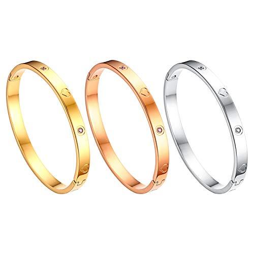 JewelryWe Schmuck 3pcs Damen Armreif Edelstahl Zirkonia Herz Prägung Armband 6mm breit mit Schließe Armspange Gravur Silber Gold Rosegold