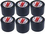 LEDLUX 6 rollos de cinta aislante ancha, 48 mm x 12 m, total 72 metros (negro)