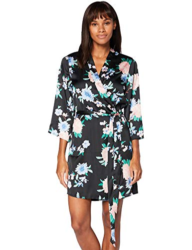 Iris & Lilly Damen Kimono-Morgenmantel aus Baumwolle, Mehrfarbig (schwarz tropisch), XS, Label: XS